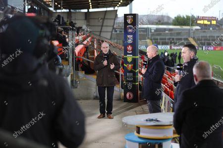 Cavan vs Down. Mickey Harte along with the BBC team