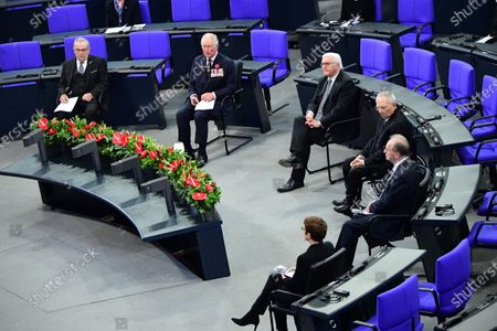 German War Graves Commission President Wolfgang Schneiderhan, Prince Charles, German President Frank-Walter Steinmeier, the president of the German Parliament Bundestag Wolfgang Schauble, President of the German Federal Council Bundesrat Reiner Haseloff and German Defense Minister Annegret Kramp-Karrenbauer during a memorial ceremony at the German parliament Bundestag to commemorate the national day of mourning for the victims of war and dictatorship. The British royal couple are scheduled to attend events on Germany's National Day of Mourning that commemorates victims of war and fascism