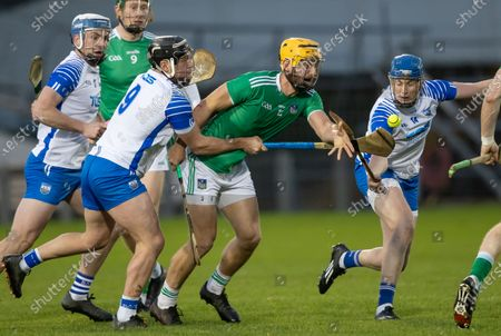 Waterford vs Limerick. Waterford's Jake Dillon and Austin Gleeson with Tom Morrissey of Limerick