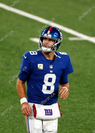 New York Giants quarterback Daniel Jones (8) runs off the field during an NFL football game against the Philadelphia Eagles, in East Rutherford, N.J