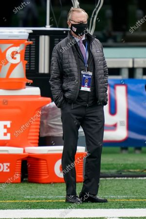 Stock Image of New York Giants owner John Mara stands on the field before an NFL football game against the Philadelphia Eagles, in East Rutherford, N.J