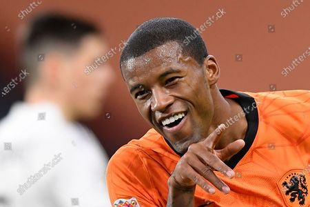 Netherlands' Georginio Wijnaldum celebrates scoring his side's second goal during the UEFA Nations League soccer match between The Netherlands and Bosnia and Herzegovina at the Johan Cruyff ArenA in Amsterdam, Netherlands