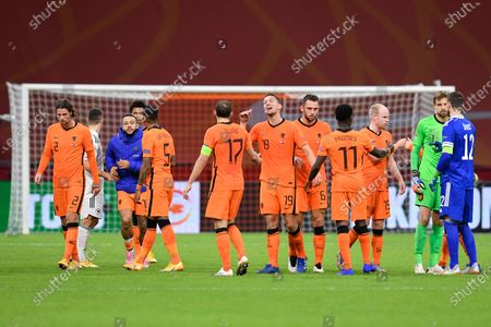 Dutch players celebrate winning the UEFA Nations League soccer match between The Netherlands and Bosnia and Herzegovina with a 3-1 score at the Johan Cruyff ArenA in Amsterdam, Netherlands
