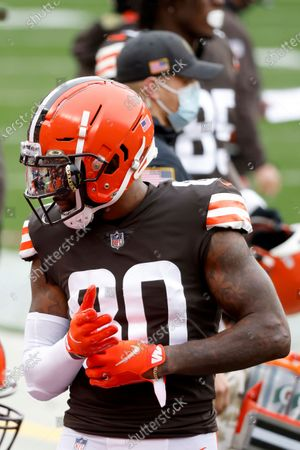 Cleveland Browns wide receiver Jarvis Landry (80) stands on the sideline prior to the start of an NFL football game against the Houston Texans, in Cleveland
