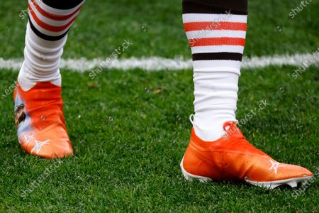 Detail of the Nike cleats worn by Cleveland Browns wide receiver Jarvis Landry (80) during an NFL football game against the Houston Texans, in Cleveland