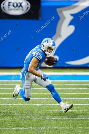 Detroit Lions wide receiver Danny Amendola (80) runs the ball against the Washington Football during an NFL football game, in Detroit