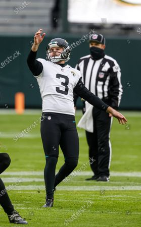Stock Image of Jacksonville Jaguars kicker Jon Brown (3) in action during an NFL football game, Sunday, Nov 15. 2020, between the Jacksonville Jaguars and Green Bay Packers in Green Bay, Wis
