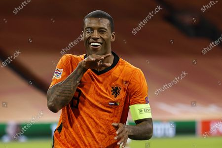Georginio Wijnaldum of the Netherlands celebrates after scoring the 1-0 lead during the UEFA Nations League soccer match between the Netherlands and Bosnia and Herzegovina at Johan Cruyff Arena in Amsterdam, Netherlands, 15 November 2020.