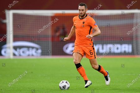 Netherlands' Stefan de Vrij controls the ball during the UEFA Nations League soccer match between The Netherlands and Bosnia and Herzegovina at the Johan Cruyff ArenA in Amsterdam, Netherlands