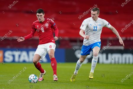 Stock Picture of Denmarks Andreas Christensen, left, and Icelands Jon Dadi Bodvarsson, right,during the UEFA Nations League - League A - Group 2 Match between Denmark and Iceland, in Copenhagen, Denmark, 15 November 2020.