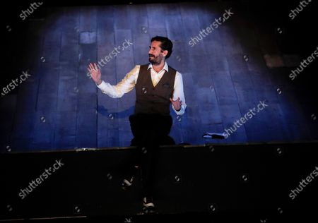 Spanish-Argentinian actor Juan Diego Botto performs onstage during the play 'Una noche sin luna' ('A moonless night' in Spanish) at the Gayarre theater in Pamplona, Navarra, Spain, 15 November 2020. The play reviews the importance of Spanish poet Federico Garcia Lorca as a writer and playwright.