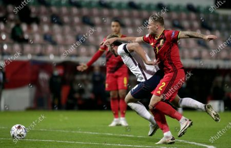 Toby Alderweireld (R) of Belgium in action during the UEFA Nations League soccer match between Belgium and England in Leuven, Belgium, 15 November 2020.