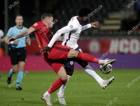 Toby Alderweireld (L) of Belgium and Bukayo Saka of England in action during the UEFA Nations League soccer match between Italy and Poland in Reggio Emilia, Italy, 15 November 2020.