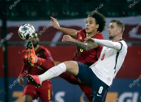Jordan Henderson of England and Axel Witsel of Belgium (L) in action during the UEFA Nations League soccer match between Belgium and England in Leuven, Belgium, 15 November 2020.