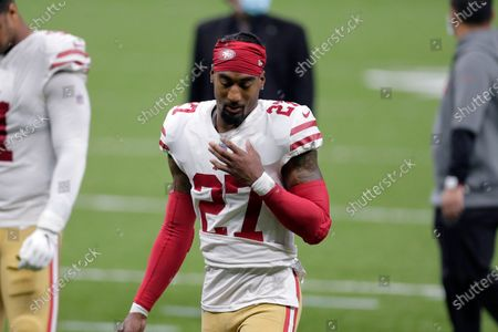 Stock Image of San Francisco 49ers cornerback Dontae Johnson (27) walks off the field after an NFL football game against the New Orleans Saints in New Orleans