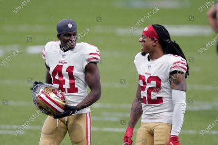 San Francisco 49ers cornerback Emmanuel Moseley (41) and cornerback Jason Verrett (22) walk off the field after an NFL football game against the New Orleans Saints in New Orleans