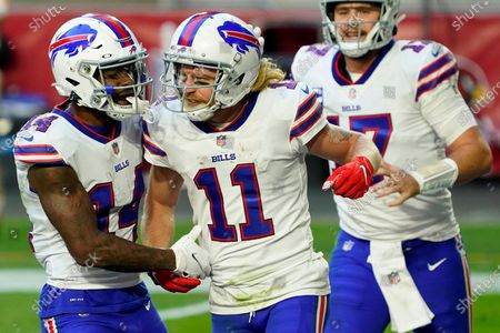 Stock Photo of Buffalo Bills wide receiver Cole Beasley (11) celebrates his touchdown with wide receiver Stefon Diggs (14) during the second half of an NFL football game against the Arizona Cardinals, in Glendale, Ariz