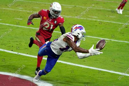 Stock Image of Buffalo Bills wide receiver Stefon Diggs (14) pulls in a touchdown pass as Arizona Cardinals cornerback Patrick Peterson (21) defends during the second half of an NFL football game, in Glendale, Ariz