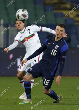 Stock Picture of Bulgaria's Strahil Popov (L) in action with Finland's Robert Taylor (R) during the UEFA Nations League group stage, League B, Group 4 match between Bulgaria and Finland.
