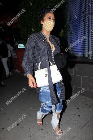 Stock Image of Keyshia Cole is seen leaving BOA Steakhouse in West Hollywood