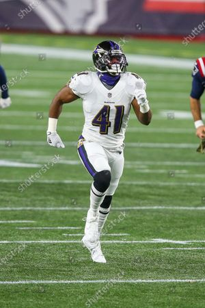 Baltimore Ravens safety Anthony Levine Sr. (41) during the first half of an NFL football game against the New England Patriots, in Foxborough, Mass