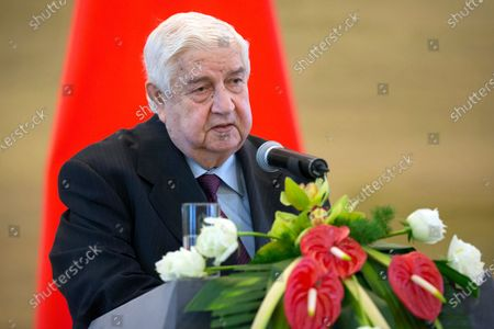 Syrian Foreign Minister Walid al-Moallem speaks during a press briefing with his Chinese counterpart Wang Yi at China's Ministry of Foreign Affairs in Beijing. Al-Moallem, a career diplomat who became one of the country's most prominent faces to the outside world during the uprising against Syria's President Bashar Assad, died . He was 79