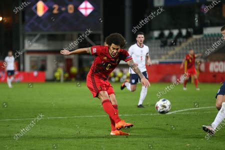 Axel Witsel of Belgium shoots during the UEFA Nations League group match between Belgium and England in King Power Stadion At Den Dreef, Leuven, Belgium, Nov. 15, 2020.