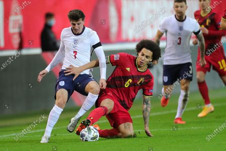 Axel Witsel (2nd L) of Belgium tackles against Mason Mount of England during the UEFA Nations League group match between Belgium and England in King Power Stadion At Den Dreef, Leuven, Belgium, Nov. 15, 2020.