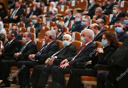Photo taken on Nov. 11, 2020 shows late Syrian Foreign Minister Walid al-Moallem (3rd R) at the Syrian Refugees Conference held in the capital Damascus, Syria. Syrian Foreign Minister Walid al-Moallem died at dawn on Monday, the Syrian Foreign Ministry announced, according to the Syrian national TV.
