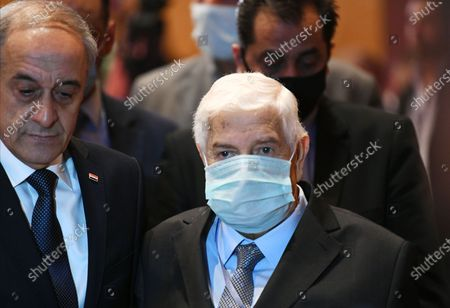 Photo taken on Nov. 11, 2020 shows late Syrian Foreign Minister Walid al-Moallem (C) at the Syrian Refugees Conference held in the capital Damascus, Syria. Syrian Foreign Minister Walid al-Moallem died at dawn on Monday, the Syrian Foreign Ministry announced, according to the Syrian national TV.