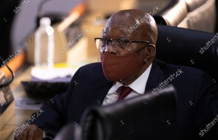 Former South African President Jacob Zuma appears at the hearing for his application for Deputy Chief Justice Raymond Zondo, to recuse himself from the state capture commission inquiry in Johannesburg, South Africa