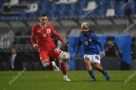 "Lorenzo Insigne (Italy) Piotr Zielinski (Poland)                       during the UEFA ""Nations League 2020-2021"" match between Italy 2-0 Poland   at Mapei Stadium  on November 15 , 2020 in Reggio Emilia, Italy."