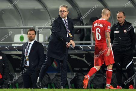 "Jerzy Brzeczek Coach (Poland) Jacek Goralski (Poland)                       during the UEFA ""Nations League 2020-2021"" match between Italy 2-0 Poland   at Mapei Stadium  on November 15 , 2020 in Reggio Emilia, Italy."