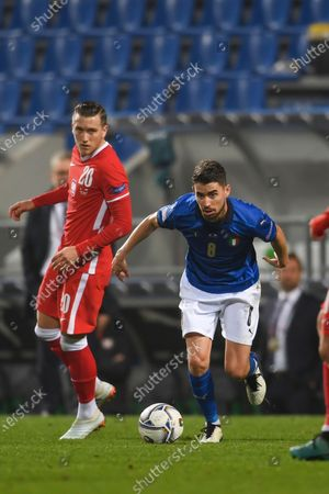 "Piotr Zielinski (Poland)Frello Jorge Luiz Jorginho (Italy)                       during the UEFA ""Nations League 2020-2021"" match between Italy 2-0 Poland   at Mapei Stadium  on November 15 , 2020 in Reggio Emilia, Italy."