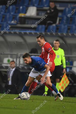"Frello Jorge Luiz Jorginho (Italy) Piotr Zielinski (Poland)                       during the UEFA ""Nations League 2020-2021"" match between Italy 2-0 Poland   at Mapei Stadium  on November 15 , 2020 in Reggio Emilia, Italy."