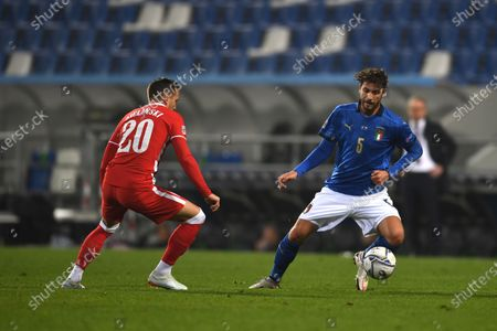 "Manuel Locatelli (Italy) Piotr Zielinski (Poland)                       during the UEFA ""Nations League 2020-2021"" match between Italy 2-0 Poland   at Mapei Stadium  on November 15 , 2020 in Reggio Emilia, Italy."