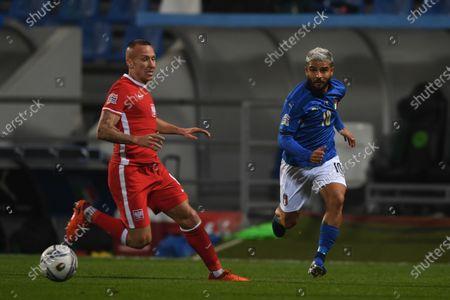 "Lorenzo Insigne (Italy) Jacek Goralski (Poland)                       during the UEFA ""Nations League 2020-2021"" match between Italy 2-0 Poland   at Mapei Stadium  on November 15 , 2020 in Reggio Emilia, Italy."
