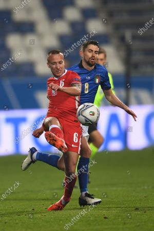 "Jacek Goralski (Poland)Frello Jorge Luiz Jorginho (Italy)                       during the UEFA ""Nations League 2020-2021"" match between Italy 2-0 Poland   at Mapei Stadium  on November 15 , 2020 in Reggio Emilia, Italy."
