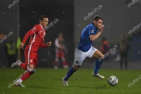 "Andrea Belotti (Italy) Piotr Zielinski (Poland)                       during the UEFA ""Nations League 2020-2021"" match between Italy 2-0 Poland   at Mapei Stadium  on November 15 , 2020 in Reggio Emilia, Italy."