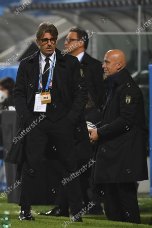"""Stock Picture of Gianluca Vialli(Italy) Gabriele Oriali(Italy)                          during the UEFA """"Nations League 2020-2021"""" match between Italy 2-0 Poland   at Mapei Stadium  on November 15 , 2020 in Reggio Emilia, Italy."""
