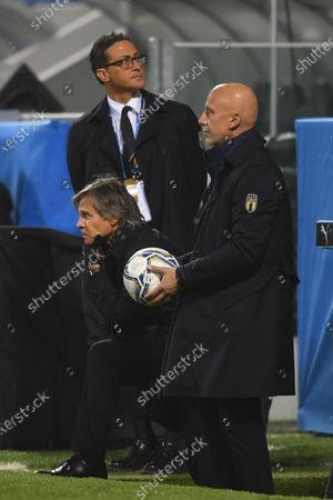 "Gianluca Vialli(Italy) Gabriele Oriali(Italy)                       during the UEFA ""Nations League 2020-2021"" match between Italy 2-0 Poland   at Mapei Stadium  on November 15 , 2020 in Reggio Emilia, Italy."