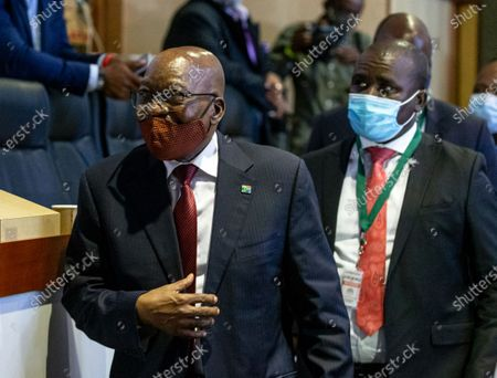 Former South African President Jacob Zuma (L) appears before the Judicial Commission of Inquiry into State Capture in Johannesburg, South Africa, 16 November 2020. Former president made an appearance before Judicial Commission, to answer allegations on corruption, after he filed an official application to dismiss Deputy Chief Justice Raymond Zondo from the Commission claiming he had 'family relations' with the Justice and it can undermine Zondo from being objective.