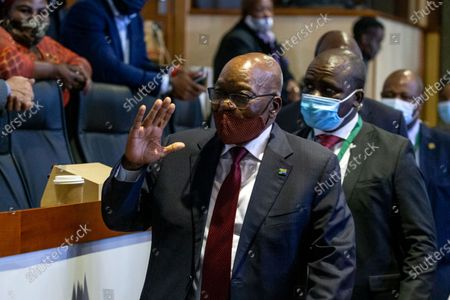 Former South African President Jacob Zuma (C) appears before the Judicial Commission of Inquiry into State Capture in Johannesburg, South Africa, 16 November 2020. Former president made an appearance before Judicial Commission, to answer allegations on corruption, after he filed an official application to dismiss Deputy Chief Justice Raymond Zondo from the Commission claiming he had 'family relations' with the Justice and it can undermine Zondo from being objective.
