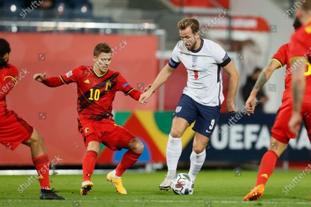 Belgium's Thorgan Hazard and England's forward Harry Kane fight for the ball during a Nations League soccer game between the Belgian national team Red Devils and England, the fifth game (out of six) in the League A, Group 2, Sunday 15 November 2020 in Leuven.