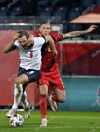 England's forward Harry Kane and Belgium's Toby Alderweireld fight for the ball during a Nations League soccer game between the Belgian national team Red Devils and England, the fifth game (out of six) in the League A, Group 2, Sunday 15 November 2020 in Leuven.