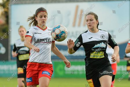 Stock Photo of Aalst's midfielder Valentine Hannecart (R) and Zulte Waregem's midfielder Amber De Priester (L) pictured during a female soccer game between Eendracht Aalst and SV Zulte Waregem on the seventh matchday of the 2020 - 2021 season of Belgian Scooore Womens Super League