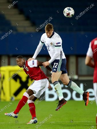 Stock Picture of Northern Ireland's Daniel Ballard with Austria's David Alaba during Sunday nights UEFA Nations League game at the Ernst Happel Stadium in Vienna
