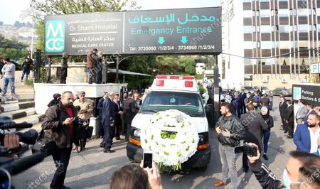 Stock Picture of An ambulance transports the coffin of Deputy Prime Minister, Minister of Foreign Affairs and Expatriates Walid al-Moallem, in Damascus, Syria, 16 November 2020. Walid al-Moallem died aged 79 on 16 November 2020. He will be buried in the Mezzeh cemetery after funeral prayer at the Saad bin Muadh mosque.
