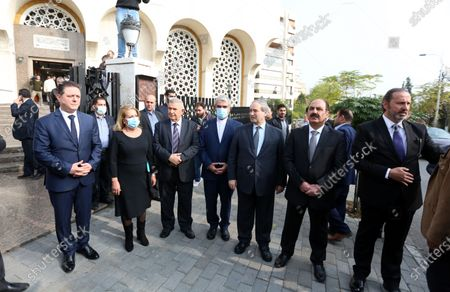 Syrian Deputy Foreign Minister Faisal Mikdad (5-L) and other officials attend the funeral of Deputy Prime Minister, Minister of Foreign Affairs and Expatriates Walid al-Moallem, in Damascus, Syria, 16 November 2020. Walid al-Moallem died aged 79 on 16 November 2020. He will be buried in the Mezzeh cemetery after funeral prayer at the Saad bin Muadh mosque.