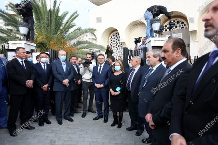 Stock Image of Syrian officials and people attend the funeral of Deputy Prime Minister, Minister of Foreign Affairs and Expatriates Walid al-Moallem, in Damascus, Syria, 16 November 2020. Walid al-Moallem died aged 79 on 16 November 2020. He will be buried in the Mezzeh cemetery after funeral prayer at the Saad bin Muadh mosque.